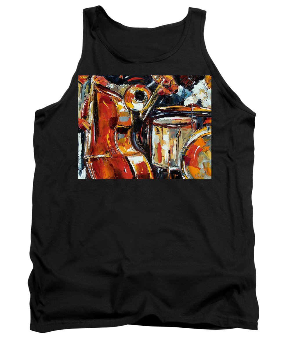 Jazz Tank Top featuring the painting Bone Bass And Drums by Debra Hurd