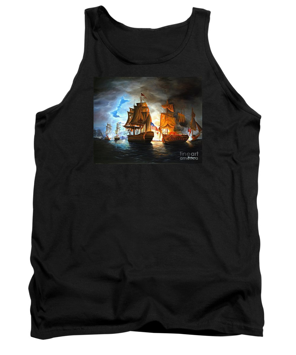 Naval Battle Tank Top featuring the painting Bonhomme Richard Engaging The Serapis In Battle by Paul Walsh