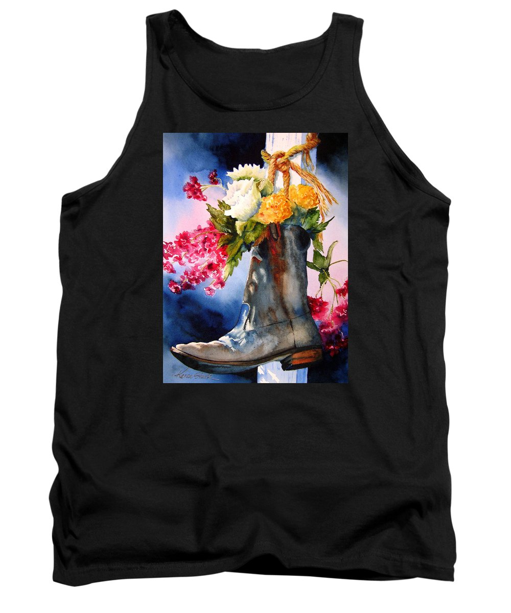 Cowboy Tank Top featuring the painting Boot Bouquet by Karen Stark