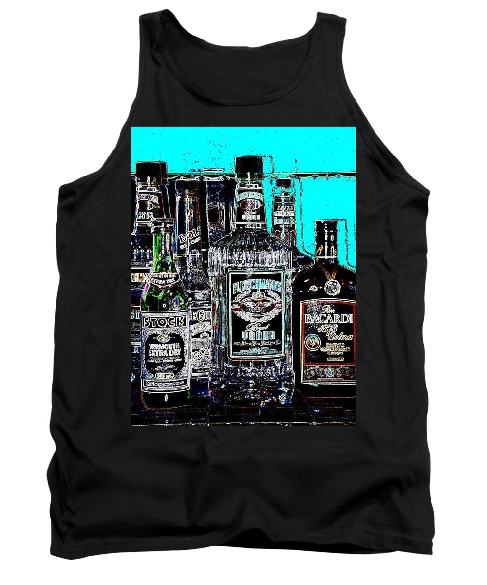 Bottles Tank Top featuring the digital art Boozy Line Up With Aqua by Anita Burgermeister