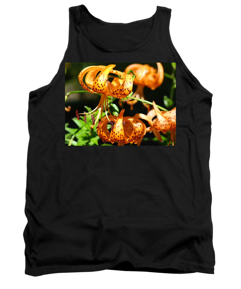 Lilies Tank Top featuring the photograph Botanical Art Prints Orange Tiger Lilies Master Gardener Baslee Troutman by Baslee Troutman