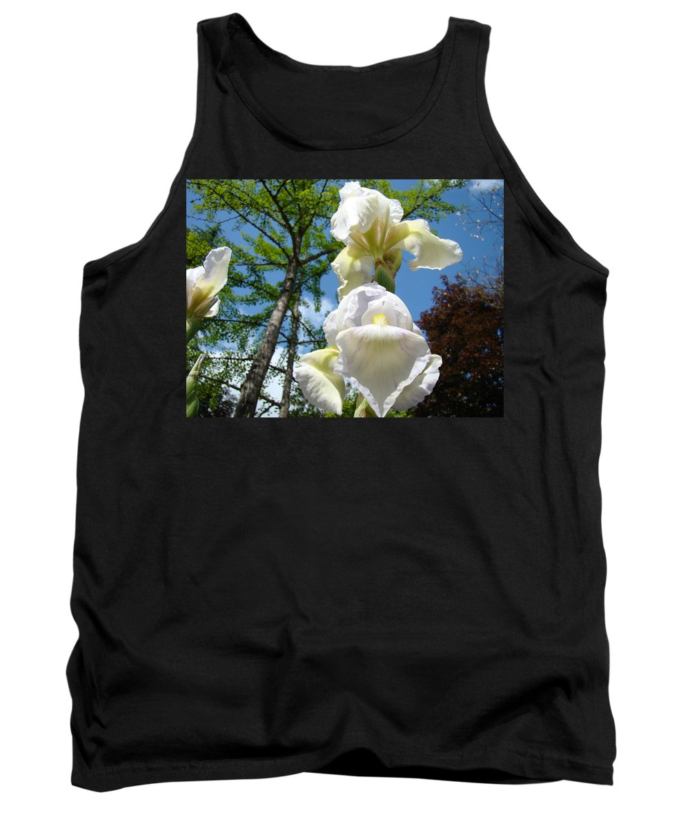 Iris Tank Top featuring the photograph Botanical Landscape Trees Blue Sky White Irises Iris Flowers by Baslee Troutman