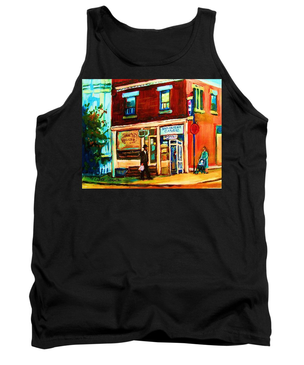 Kosher Bakery Tank Top featuring the painting Boulangerie Cachere by Carole Spandau