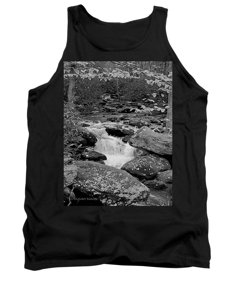 Rocks Tank Top featuring the digital art Boulder Creek by DigiArt Diaries by Vicky B Fuller