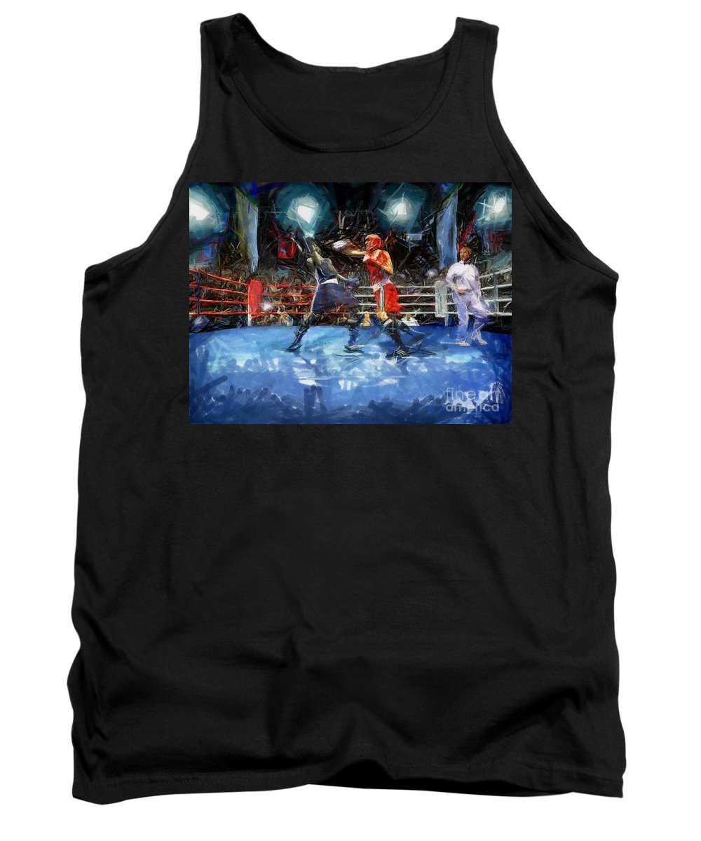 Boxing Tank Top featuring the painting Boxing Night by Murphy Elliott