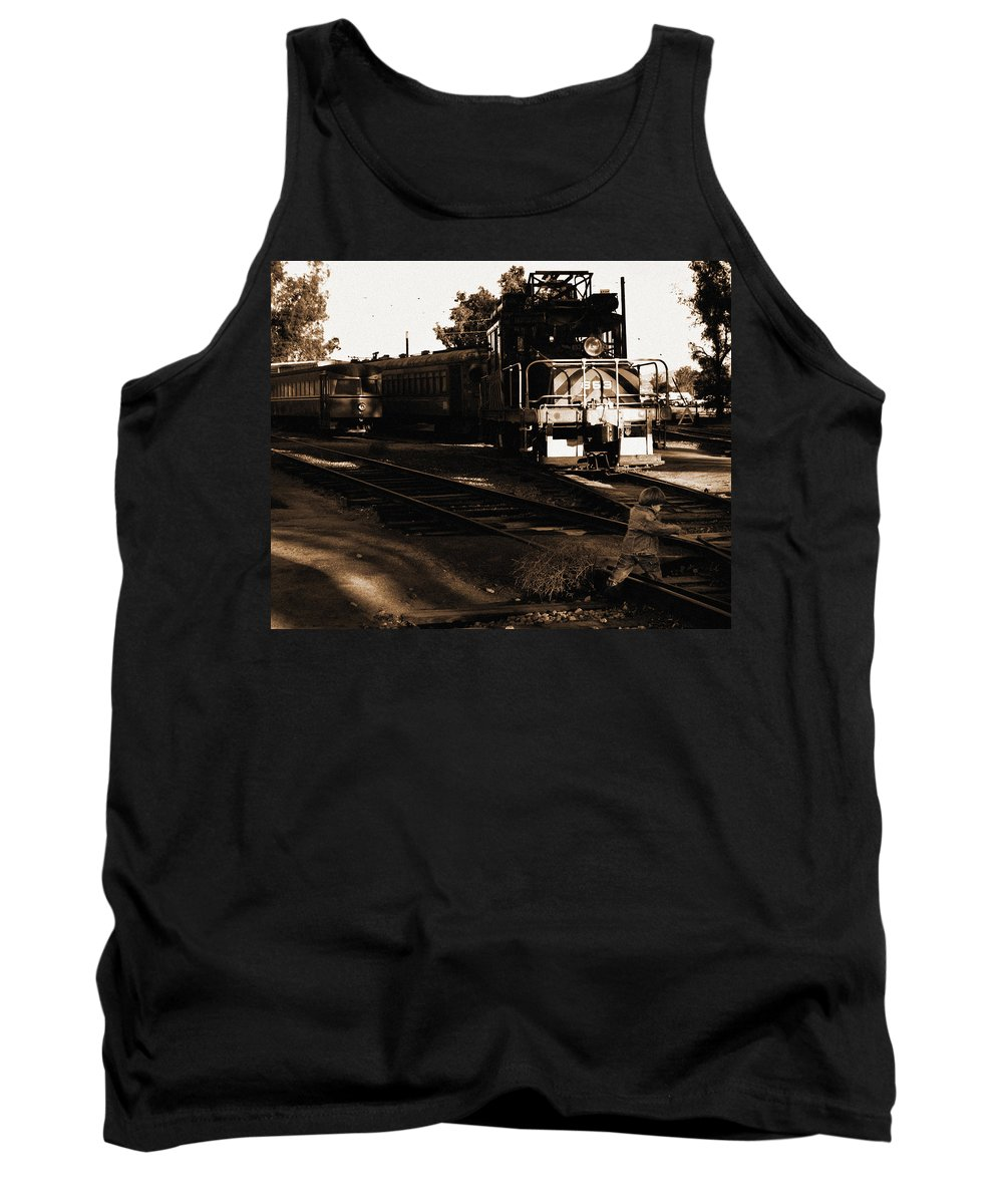 Train Tank Top featuring the photograph Boy On The Tracks by Anthony Jones