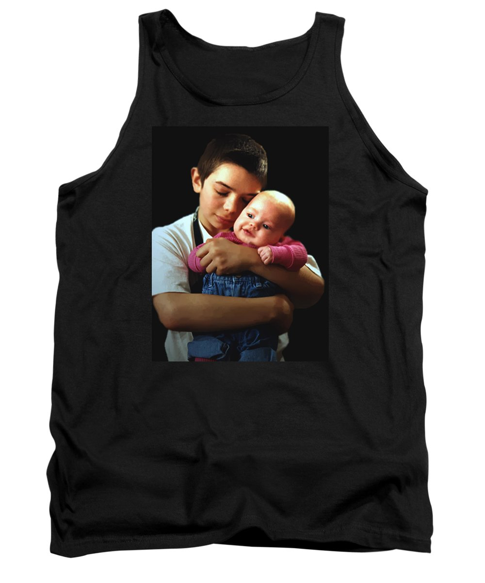 Children Tank Top featuring the photograph Boy With Bald-headed Baby by RC deWinter