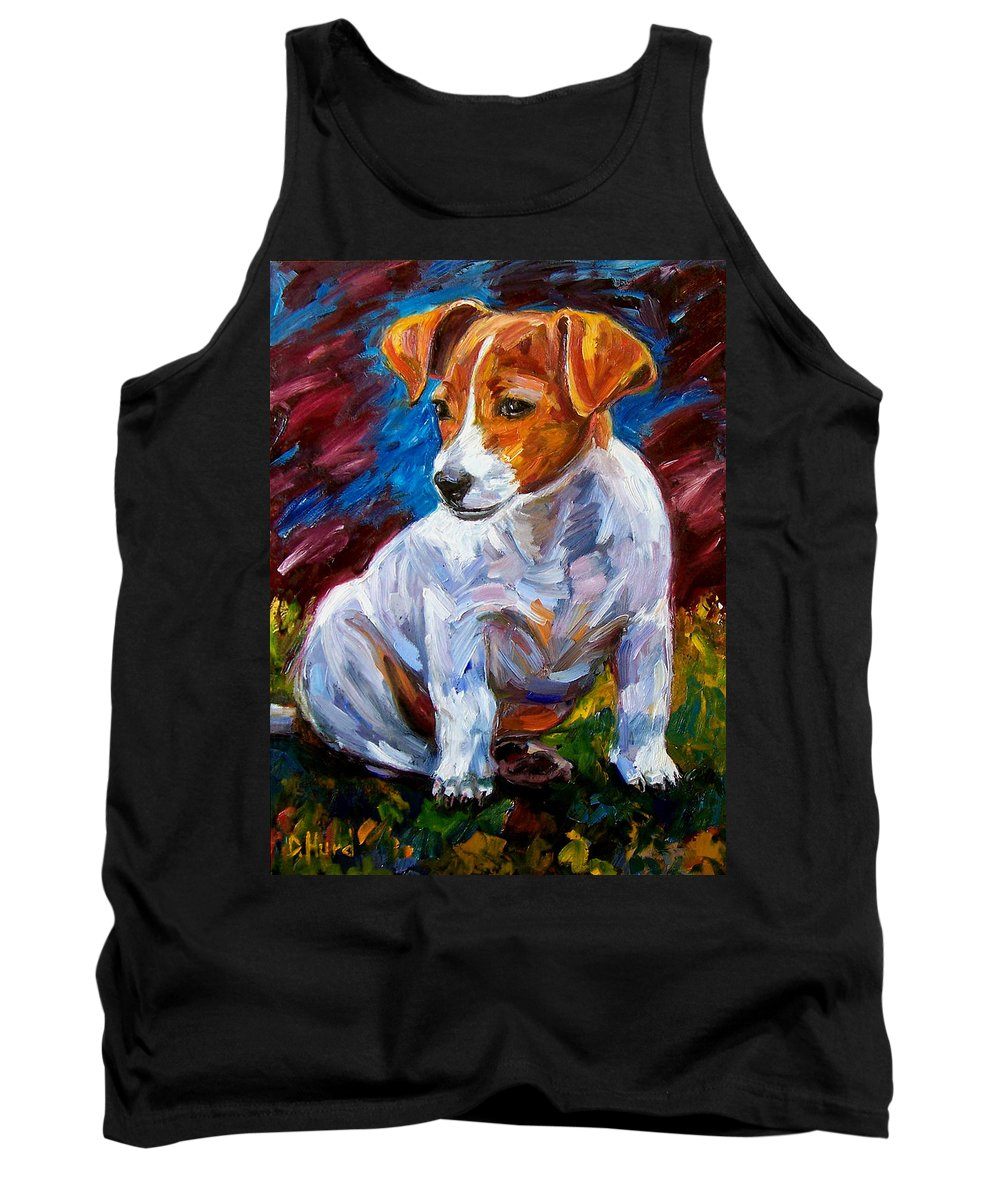 Dog Art Tank Top featuring the painting Break Time by Debra Hurd