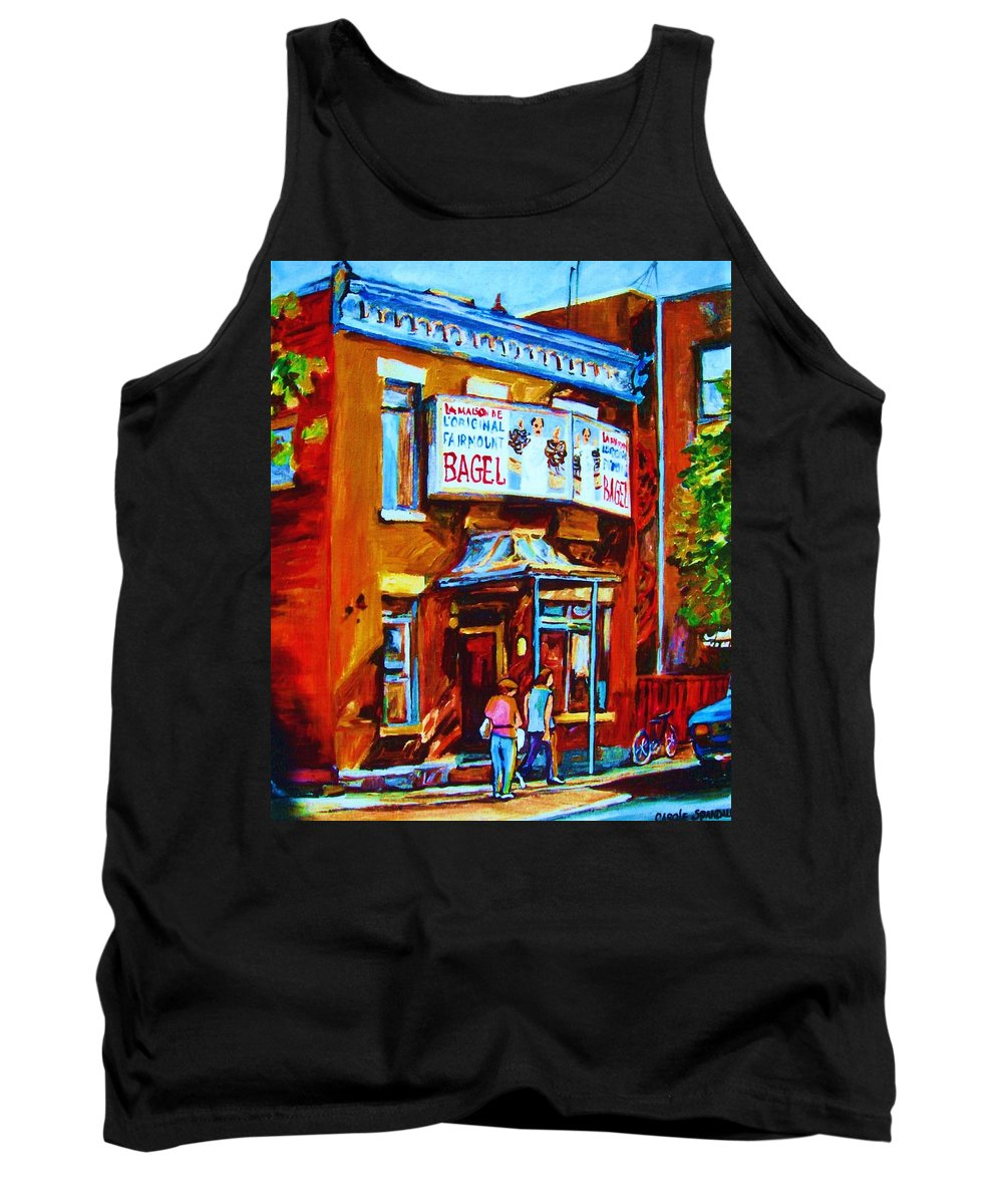 Fairmount Bagel Tank Top featuring the painting Breakfast At The Bagel Cafe by Carole Spandau