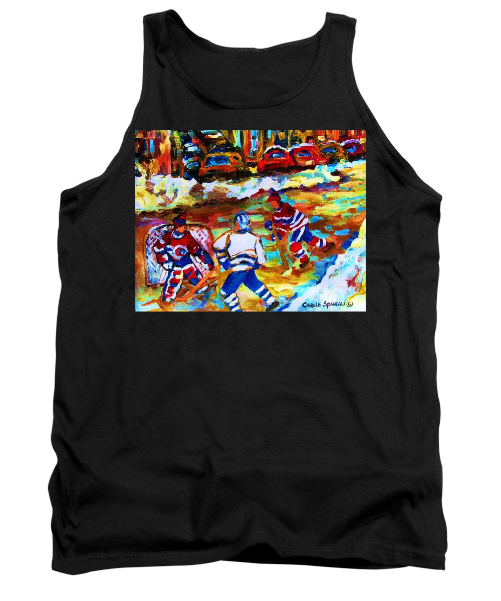 Streethockey Tank Top featuring the painting Breaking The Ice by Carole Spandau