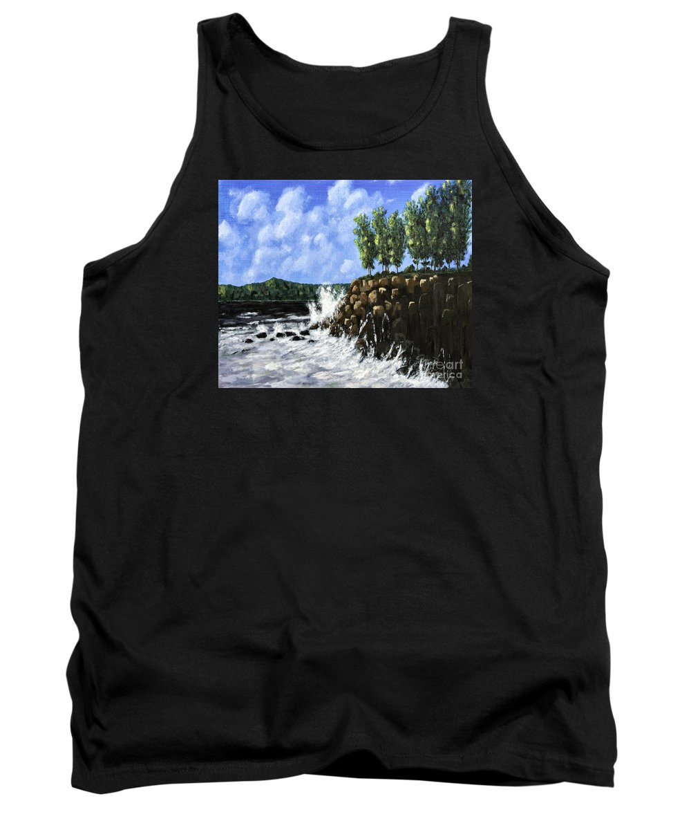 Acrylic Paintings Tank Top featuring the painting Breaking Waves Painting by Timothy Hacker