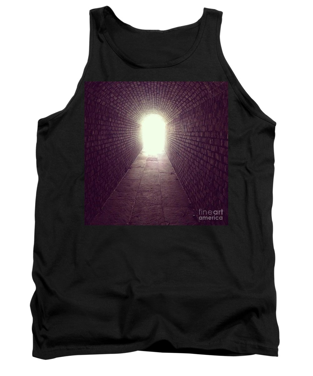 Tunnel Tank Top featuring the photograph Brick Tunnel by Geoffrey Shaffer