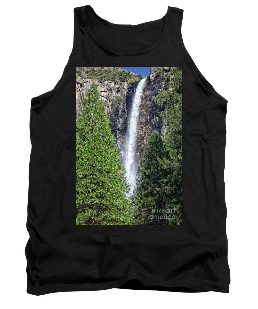Waterfall Tank Top featuring the photograph Bridalvail Fall And Raven by Sylvia Sanchez