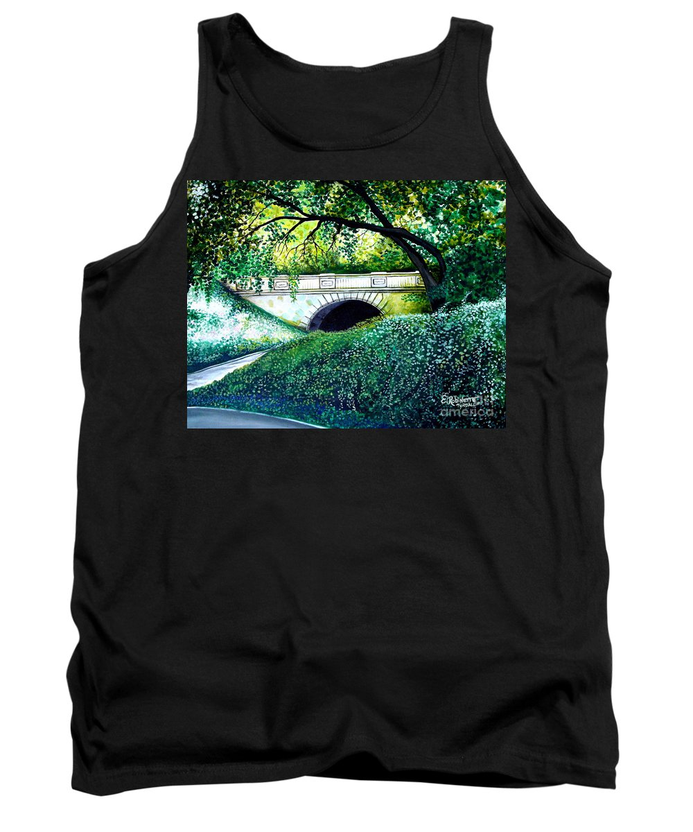 Landscape Tank Top featuring the painting Bridge To New York by Elizabeth Robinette Tyndall