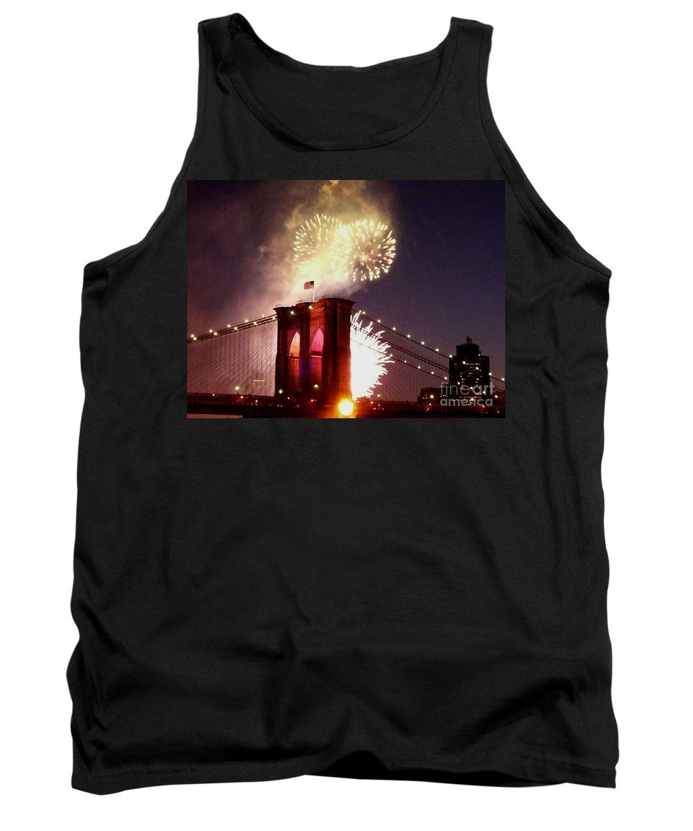 Brooklyn-bridge Tank Top featuring the photograph Brooklyn Bridge Celebration by Kendall Eutemey