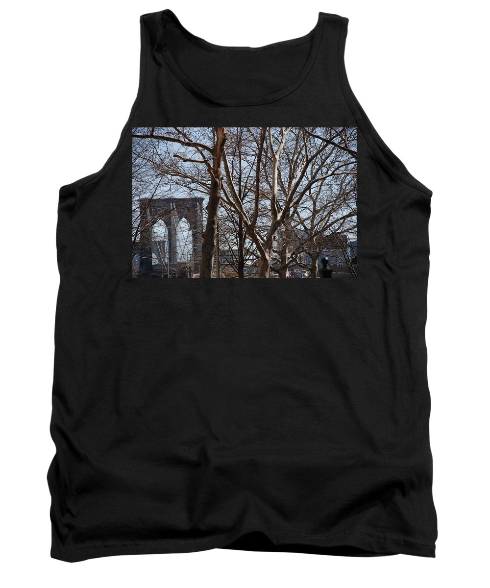 Architecture Tank Top featuring the photograph Brooklyn Bridge Thru The Trees by Rob Hans