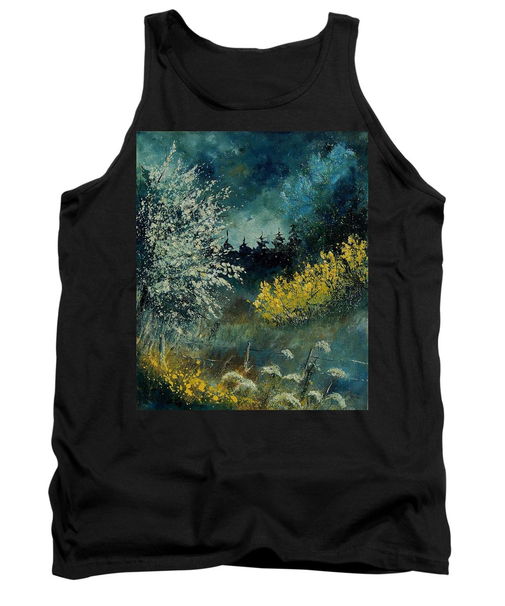 Spring Tank Top featuring the painting Brooms Shrubs by Pol Ledent