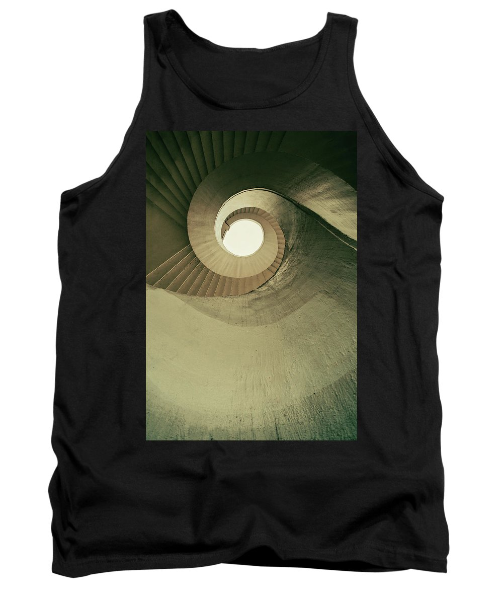 Stairs Tank Top featuring the photograph Brown Spiral Stairs by Jaroslaw Blaminsky