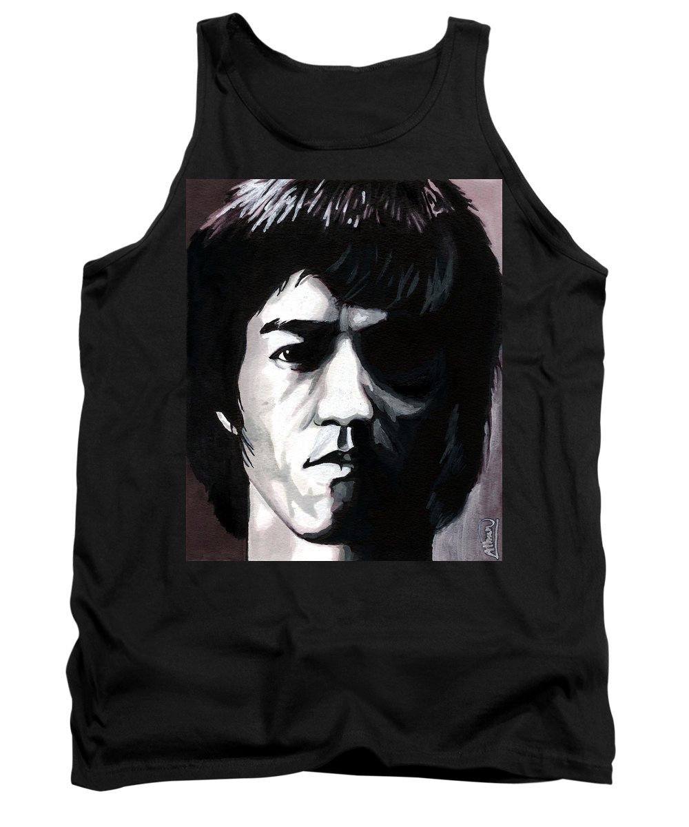 Bruce Lee Tank Top featuring the mixed media Bruce Lee Portrait by Alban Dizdari