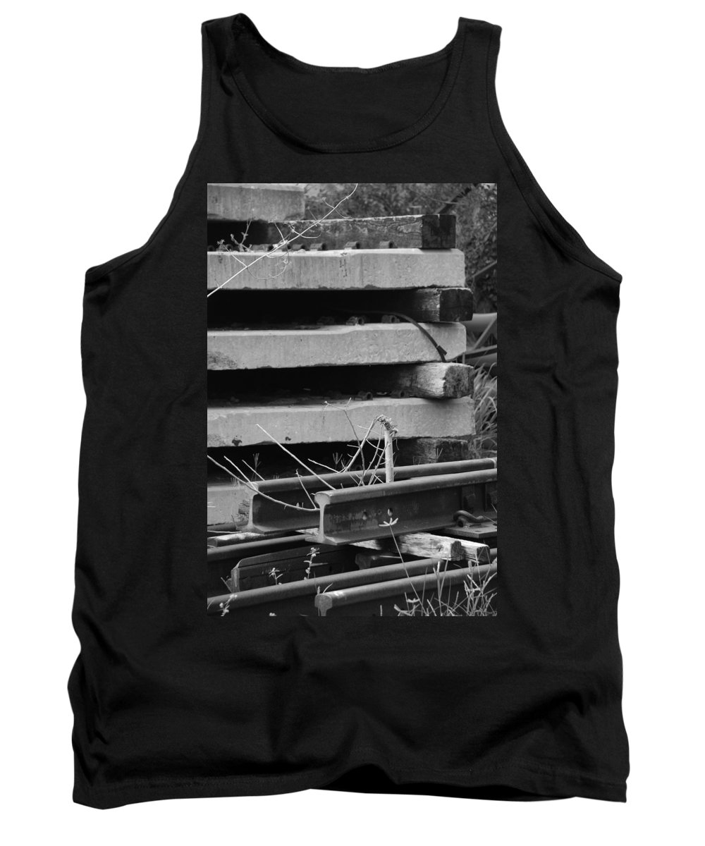 Black And White Tank Top featuring the photograph Building Tracks by Rob Hans