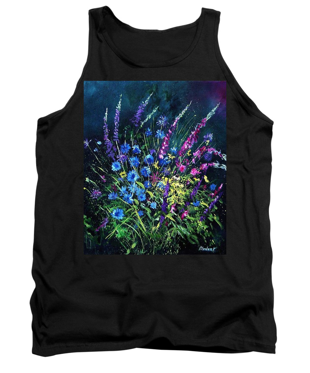 Poppies Tank Top featuring the painting Bunch Of Wild Flowers by Pol Ledent