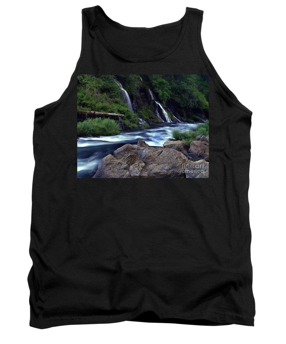 River Tank Top featuring the photograph Burney Falls Creek by Peter Piatt