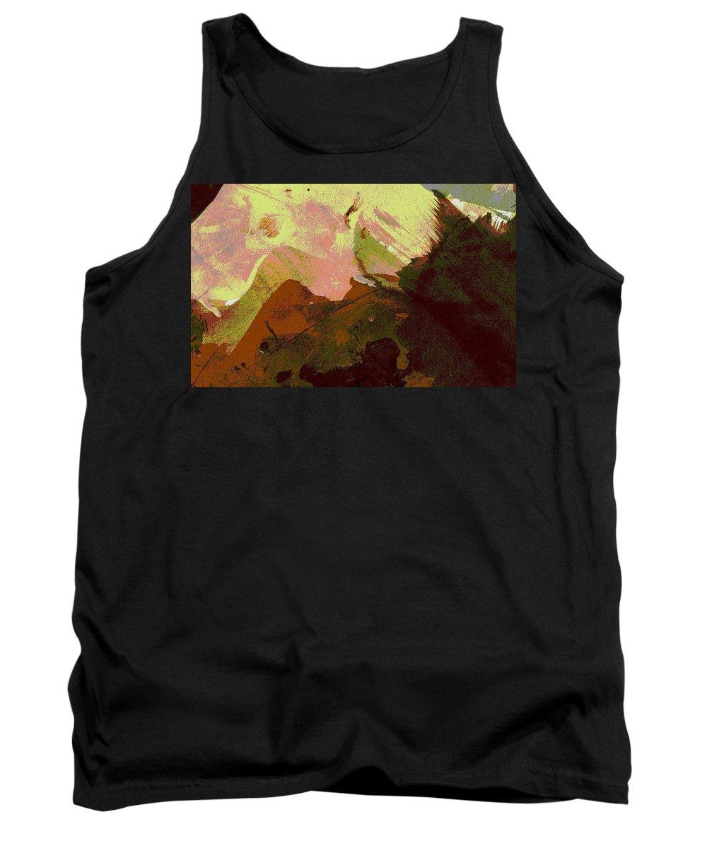 Mounains. Burnt Sienna Mountains Tank Top featuring the painting Burnt Sienna Mountains by Melody Horton Karandjeff