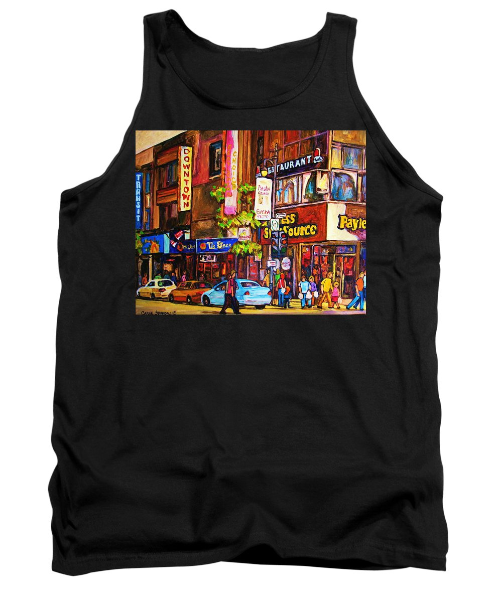 Cityscape Tank Top featuring the painting Busy Downtown Street by Carole Spandau