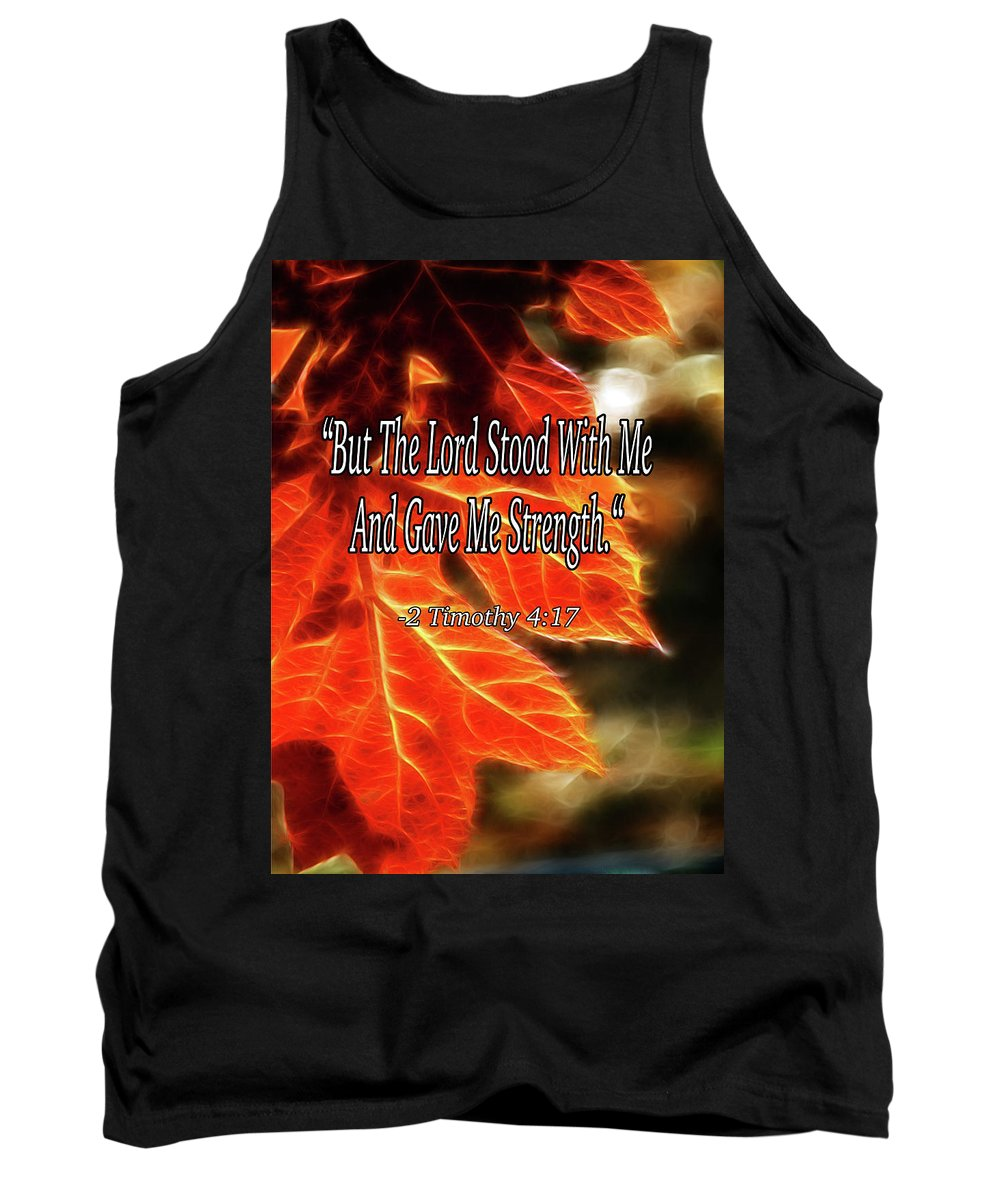 Bible Tank Top featuring the mixed media But The Lord Stood With Me by Lisa Stanley