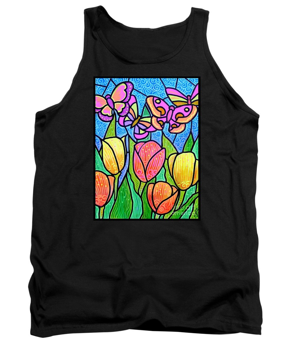 Butterflies Tank Top featuring the painting Butterflies In The Tulip Garden by Jim Harris
