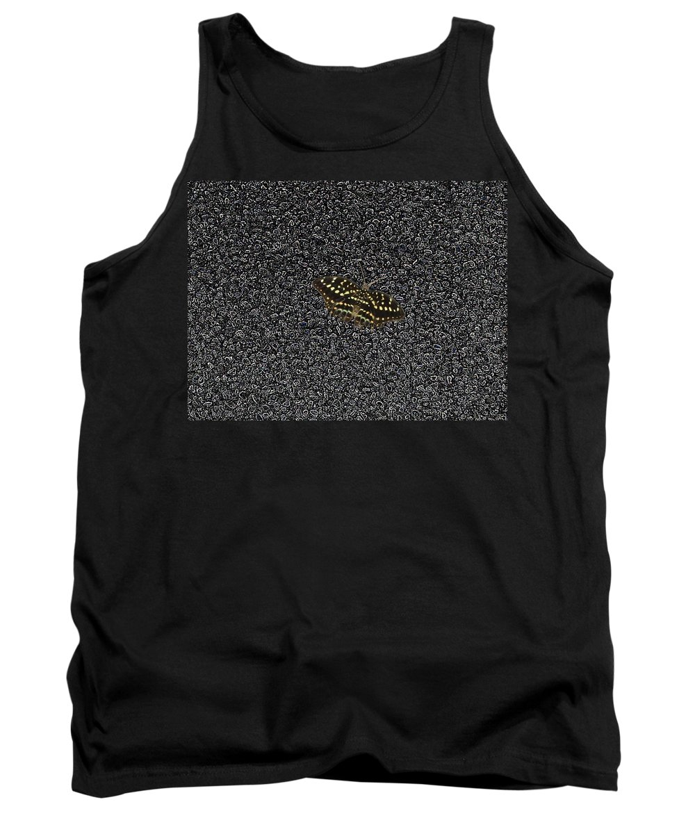 Butterfly Tank Top featuring the photograph Butterfly On Stone by Tim Allen