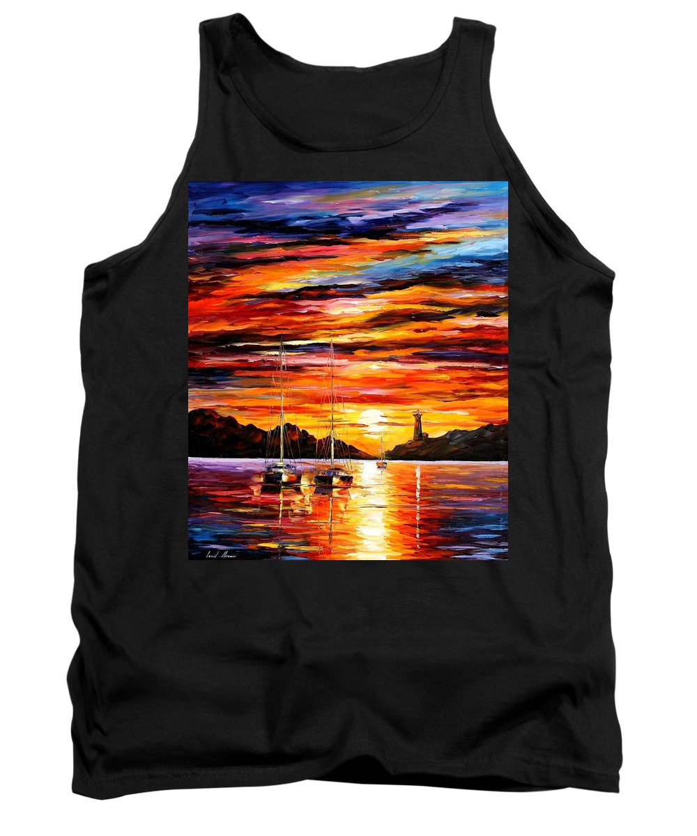 Afremov Tank Top featuring the painting By The Entrance To The Harbor by Leonid Afremov
