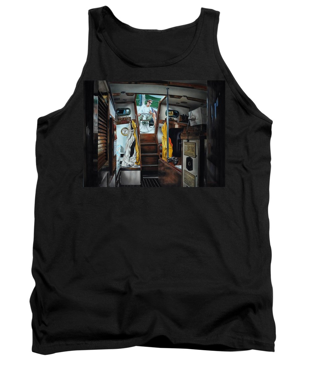 Boating Tank Top featuring the painting Cabin Fever by Robert W Cook