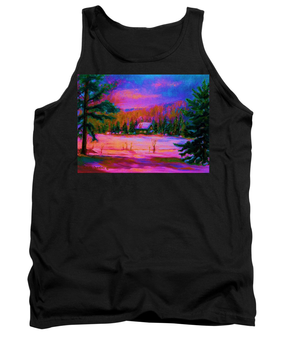 Winterscenes Tank Top featuring the painting Cabin In The Woods by Carole Spandau