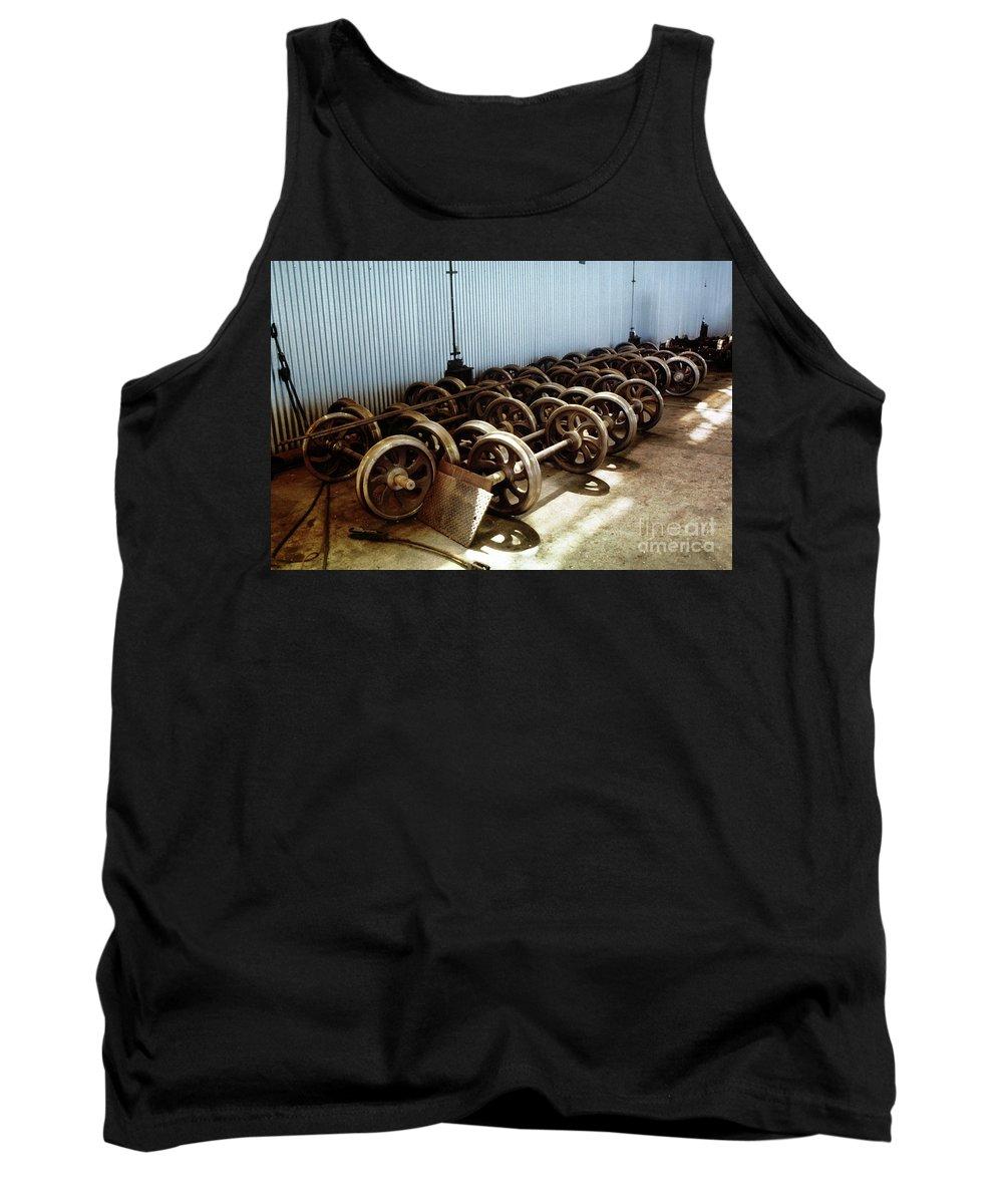 San Francisco Cable Car Repair Barn Tank Top featuring the photograph Cable Car Wheels, Repair Shop by Wernher Krutein