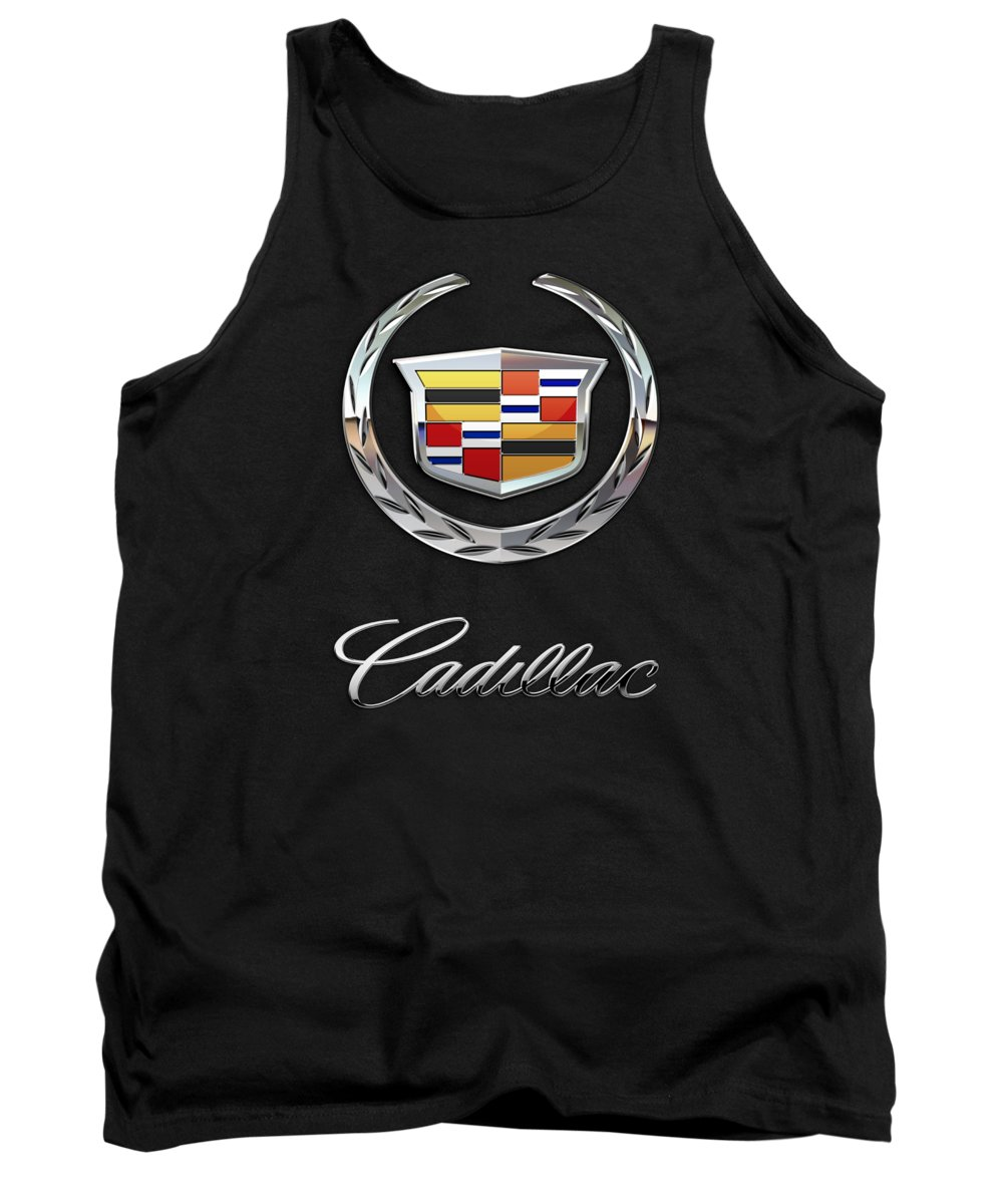 'wheels Of Fortune' By Serge Averbukh Tank Top featuring the photograph Cadillac - 3 D Badge On Black by Serge Averbukh