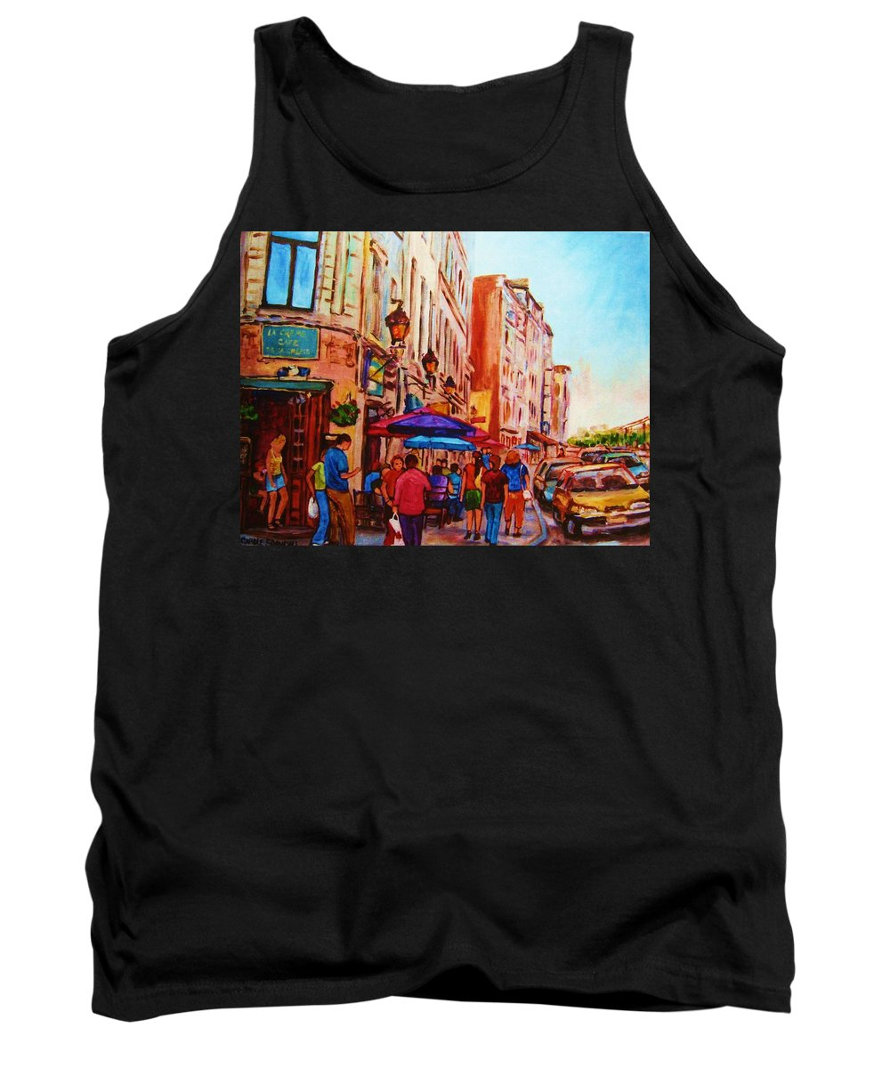 Montreal Tank Top featuring the painting Cafe Creme by Carole Spandau