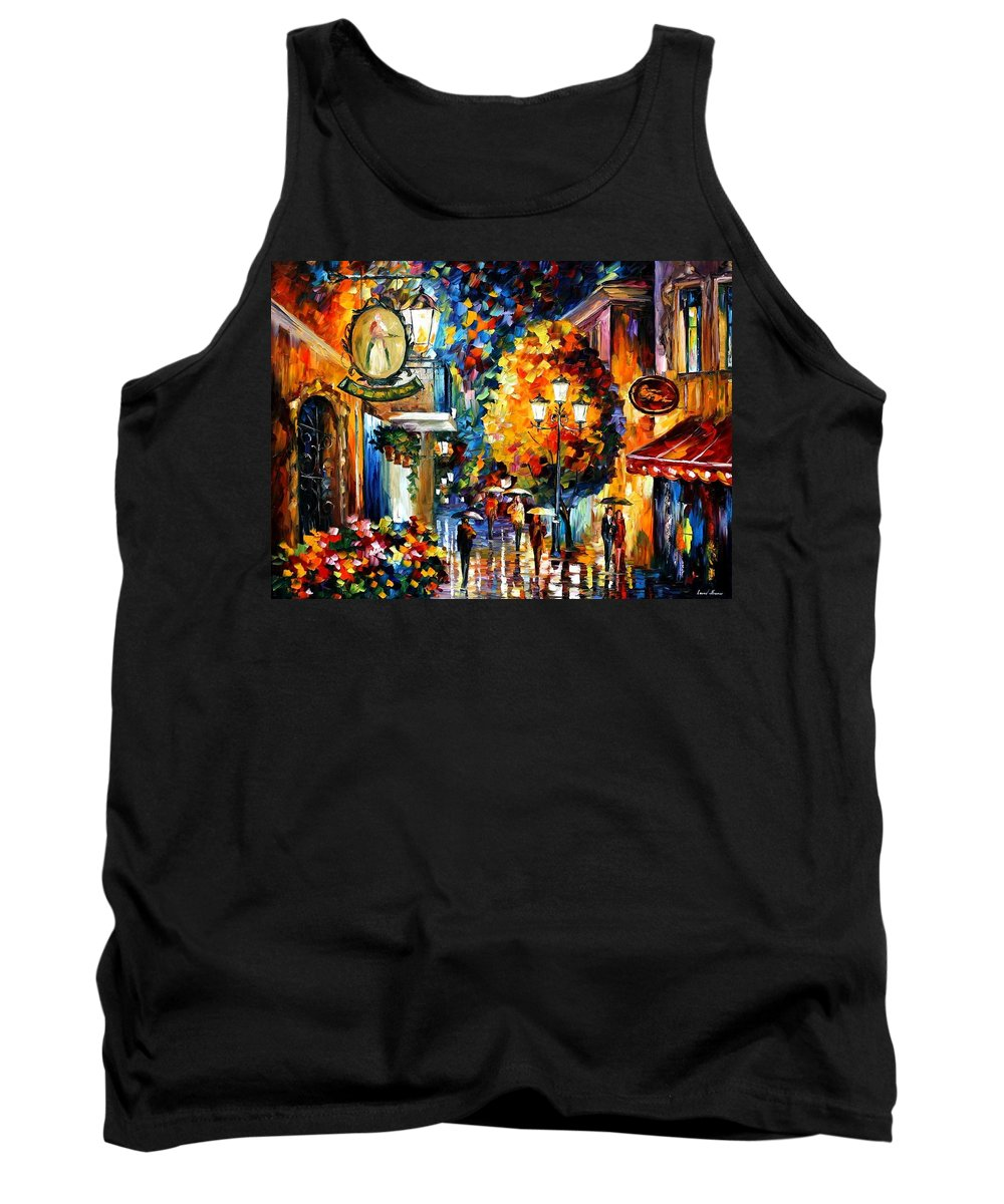 Afremov Tank Top featuring the painting Cafe In The Old City by Leonid Afremov