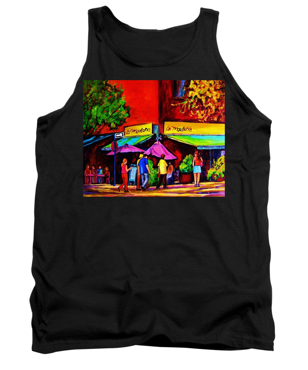 Cafe Scenes Tank Top featuring the painting Cafe La Moulerie On Bernard by Carole Spandau