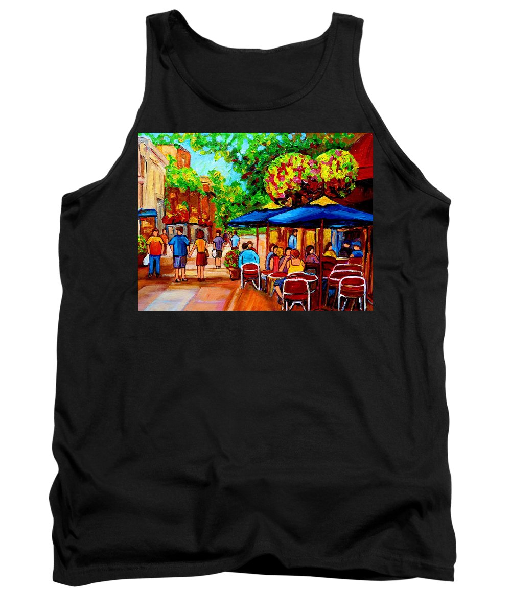 Cafe On Prince Arthur In Montreal Tank Top featuring the painting Cafe On Prince Arthur In Montreal by Carole Spandau