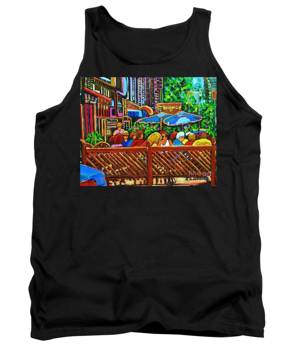 Cafes Tank Top featuring the painting Cafe Second Cup by Carole Spandau