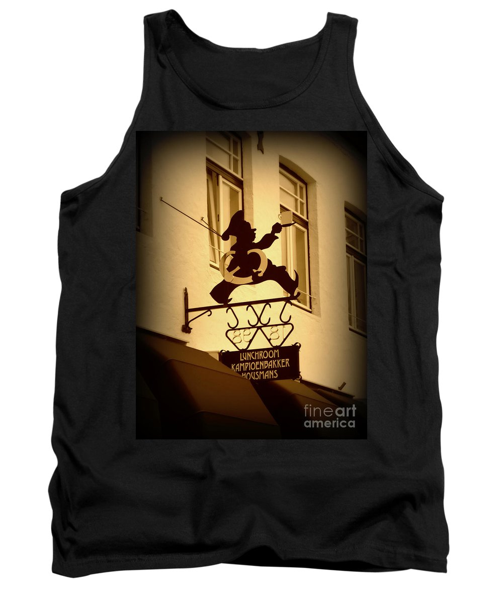 Sign Tank Top featuring the photograph Cafe Sign In Holland by Carol Groenen