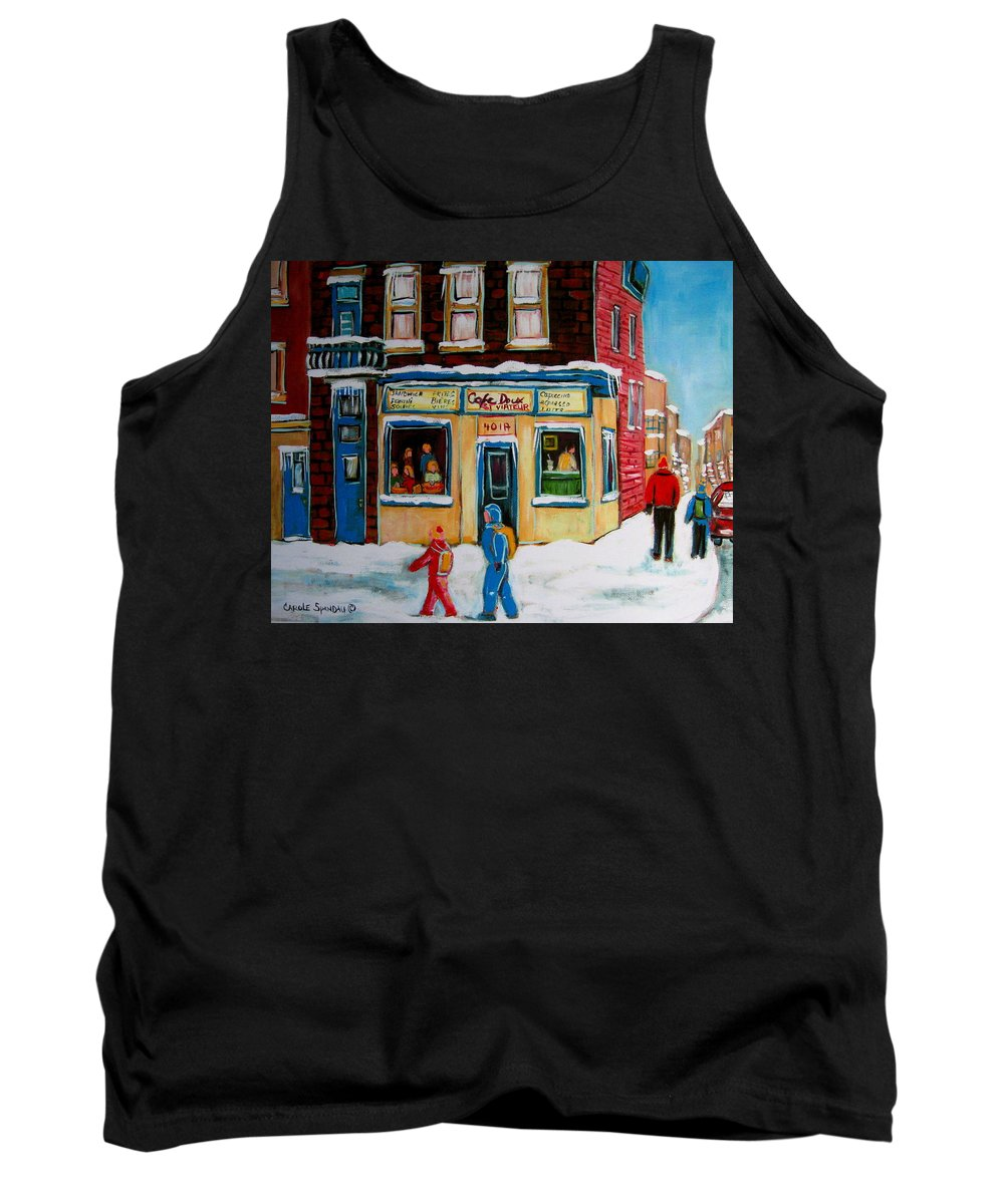 Cafe St. Viateur Montreal Tank Top featuring the painting Cafe St. Viateur Montreal by Carole Spandau
