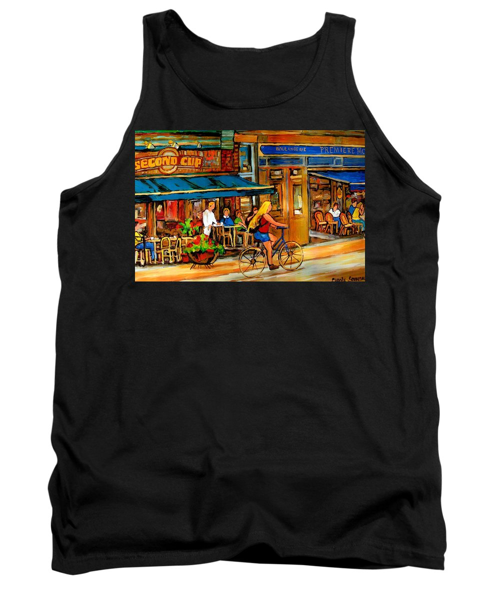 Cafes Tank Top featuring the painting Cafes With Blue Awnings by Carole Spandau