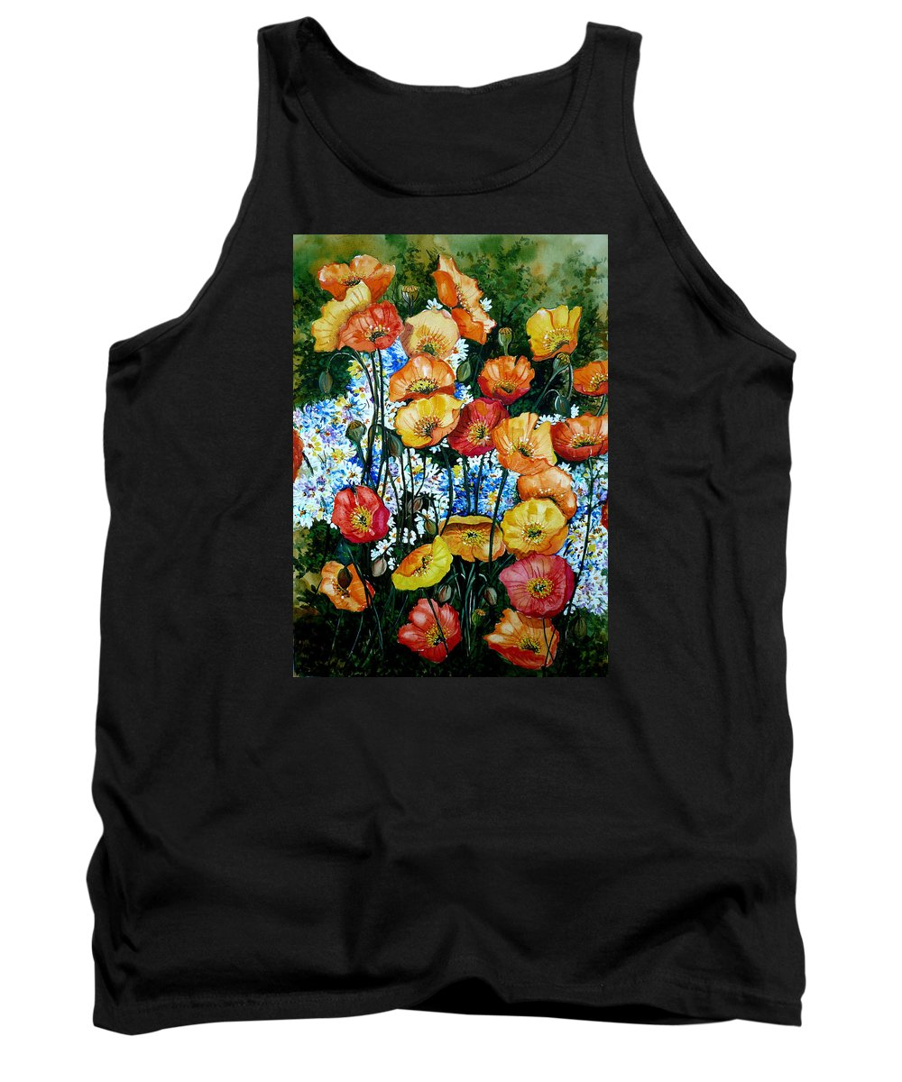 Poppy Painting Flower Painting Floral Painting California Poppy Painting Yellow Painting Orange Painting Botanical Painting Wild Poppy Painting Tank Top featuring the painting California Dreamz by Karin Dawn Kelshall- Best