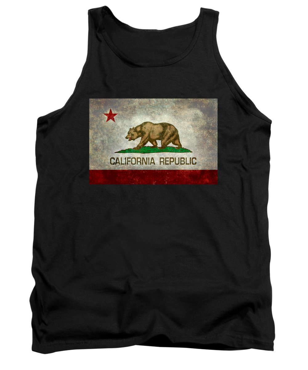 Usa Tank Top featuring the digital art California Republic State Flag Retro Style by Bruce Stanfield
