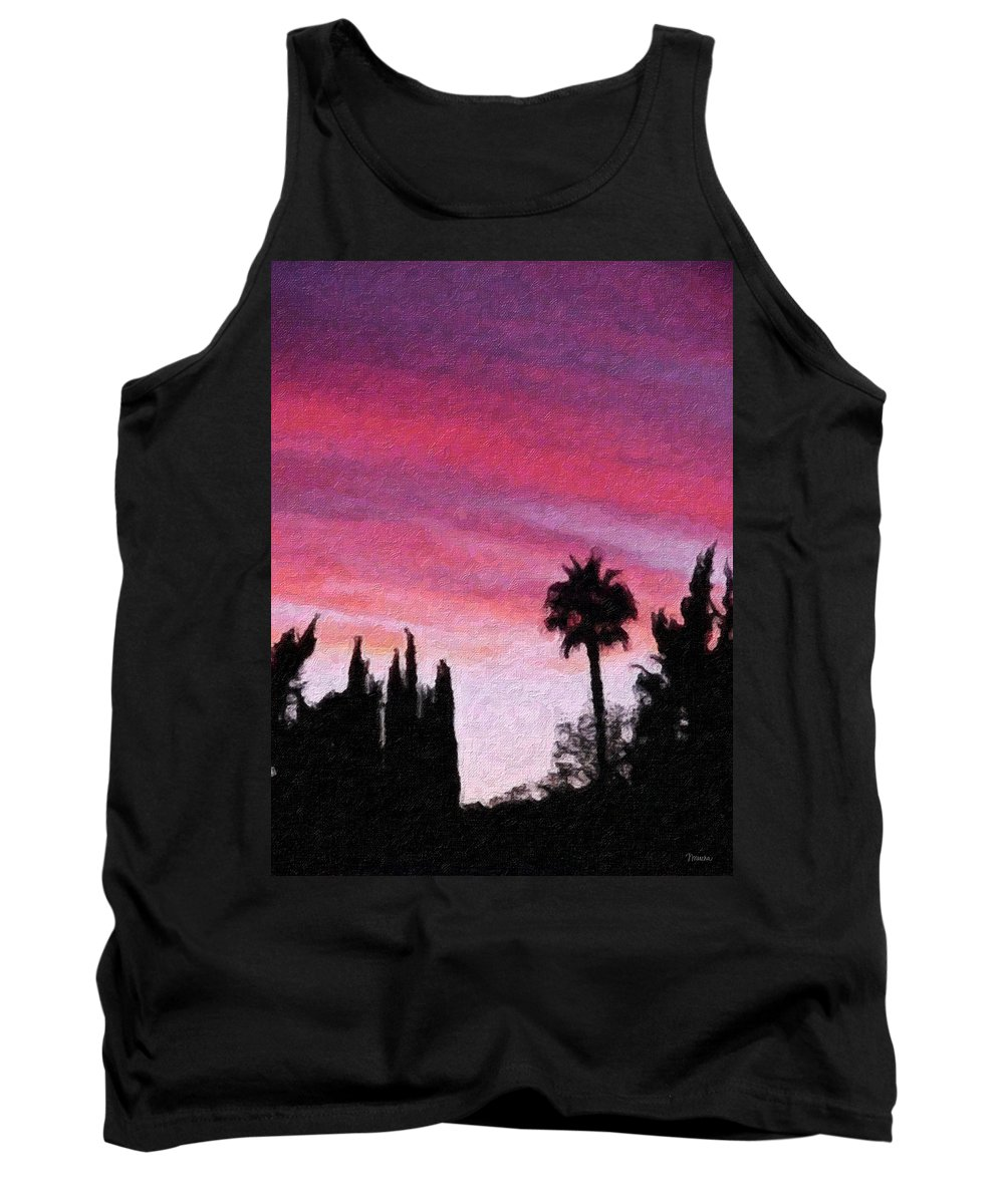 California Tank Top featuring the painting California Sunset Painting 2 by Teresa Mucha