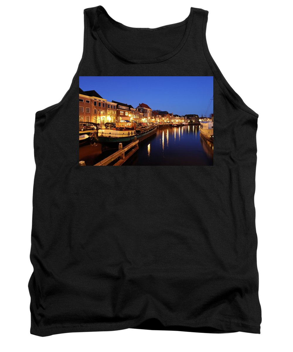 Thorbeckegracht Tank Top featuring the photograph Canal Thorbeckegracht In Zwolle At Dusk With Boats by Merijn Van der Vliet