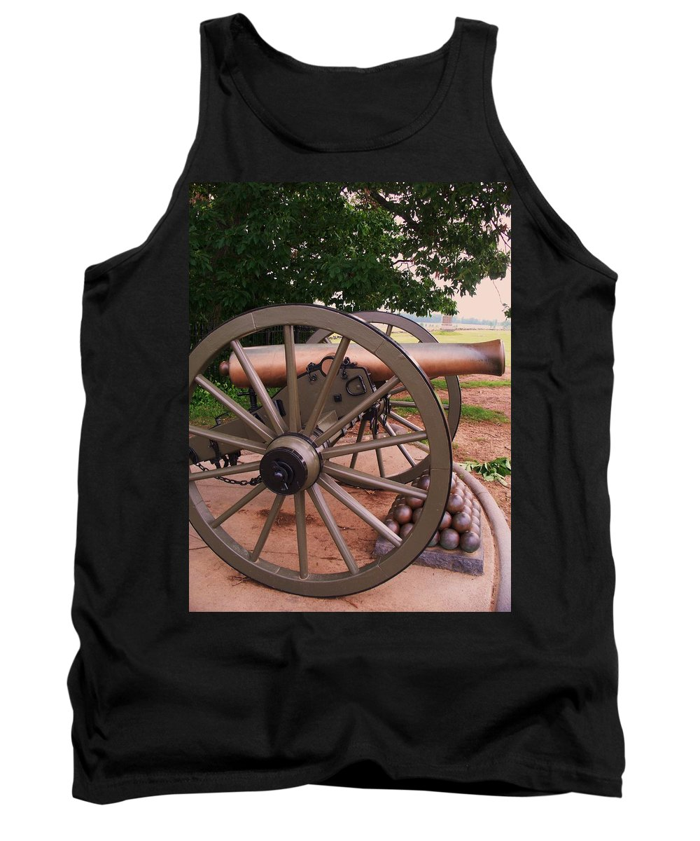 Field Tank Top featuring the painting Cannon Gettysburg by Eric Schiabor
