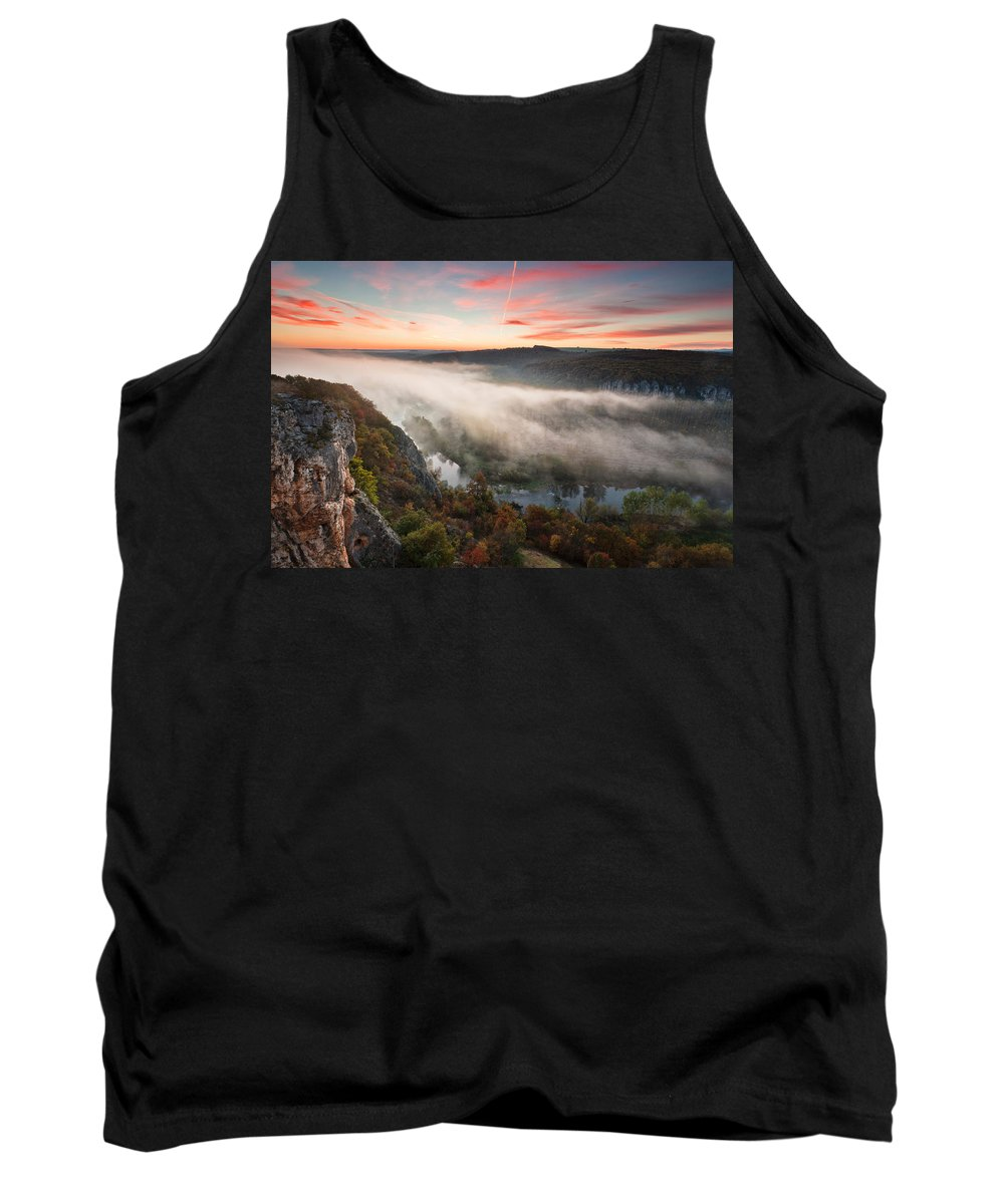 Dawn Tank Top featuring the photograph Canyon Of Mists by Evgeni Dinev